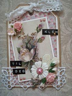 Tag - Klem til deg Handmade Tags, Bookmarks, Shabby Chic, Paper Crafts, Frame, Cards, Scrap, Crafting, Pockets