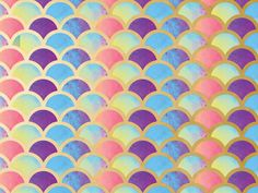 "Metallic Mermaid Dreams 30"" x 50' Wrapping Paper Roll has colorful scales traced in metallic gold."