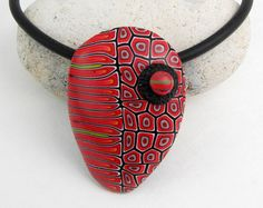 Statement necklace in black and red, unique polymer clay, millefleur…