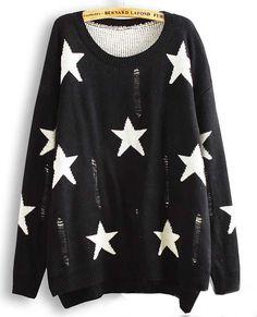 Black Long Sleeve Stars Pattern Ripped Asymmetric Sweater <3