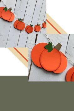 This orange paper pumpkin garland strung on twine is a pretty addition to your fireplace mantel decor for the autumn season. Halloween Decorations For Kids, Halloween Crafts For Toddlers, Paper Decorations, Autumn Decorations, Halloween Treats, Fall Decor, Pumpkin Crafts, Paper Pumpkin, Fall Paper Crafts