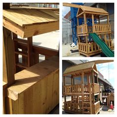 Student built two story play house with bench, slide, swing and lemonade stand. Built by Noah Burns and Ryan Young. 2014