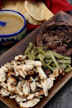 girlichef: Tacos de Arrachera y Pollo al Carbón con Cebollitas Asadas y Nopales (Grilled Skirt Steak & Chicken Tacos w/ Knob Onions & Cactus)