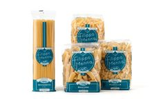 """""""The packaging of pasta Filippo Menna has been studied by Angelini Design to export our good name overseas: the classic transparency of the packages was joined by a symbol of the Vesuvius and the traditional color of the city of Naples, light blue."""