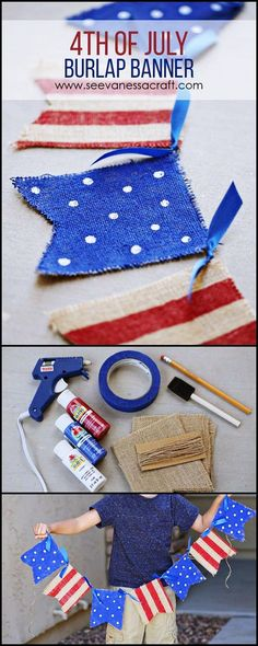 30 DIY of July Decorations - Patriotic DIY Fourth of July Decor Projects. American flag decor diy ideas for Memorial Day. Independence day of july decor red white blue and DIY ideas. Fourth Of July Decor, 4th Of July Celebration, 4th Of July Decorations, 4th Of July Party, July 4th, Memorial Day Decorations, Holiday Decorations, Diy 4th Of July Bunting, Patriotic Crafts