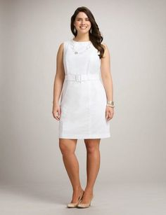 Plus Size Belted White Sheath Dress Evening Dresses Plus Size, Plus Size Dresses, White Sheath Dress, White Dress, Plus Size Belts, Look Plus Size, Dress Vestidos, Plus Size Fashion For Women, Curvy Outfits