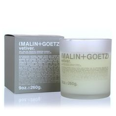 The Malin and Goetz vetiver candle synthesizes natural grassy notes for a cool, classic, earthy scent.  Known for its tranquil and restorative energy, vetiver is a clean, fresh and comfortable scent.