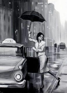 Lana Marandina - Walking in the rain Rain Painting, Woman Painting, Oil On Canvas, Canvas Art, Umbrella Art, Walking In The Rain, Saatchi Art, Modern Art, Original Paintings