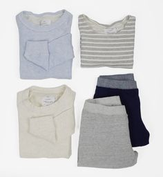 #americancolors #cotton #homegrown #stripes #basics #comfort #sweatpants #sweater #crewneck #blue #gray