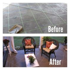 Step Tape a regular boring patio to look like tile. Step Use a paint roller with a long handle to paint the entire area with a cement stain in whatever color you choose. Step you can choose to use another layer of a cement gloss if you want a Outside Patio, Back Patio, Small Patio, Tile Patio Floor, Patio Flooring, Diy Patio, Backyard Patio, Backyard Ideas, Porches