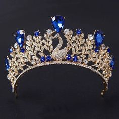 various india Magnificent Blue Rhinestone Peacock Bridal Crown Tiaras Fashion Gold Crystal Diadem for Women Wedding Hair Jewelry Accessorie,Christmas Gift Floral Headband Wedding, Floral Headbands, Royal Tiaras, Tiaras And Crowns, Pageant Crowns, Royal Crowns, Bridal Crown, Bridal Tiara, Crown For Women