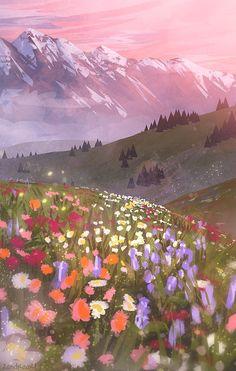 38 Ideas Landscape Art Pastel For 2019 Wallpaper Animes, Anime Scenery Wallpaper, Kawaii Wallpaper, Pastel Wallpaper, Wallpaper Backgrounds, Iphone Wallpaper Food, Aesthetic Painting, Aesthetic Art, Aesthetic Anime