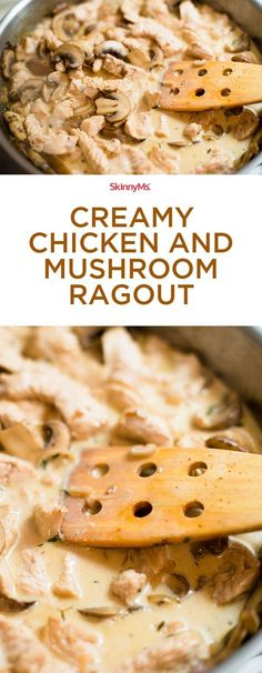 Our Creamy Chicken and Mushroom Ragout features heavenly baby bella mushrooms cooked in a mixture of olive oil shallots and onions. Healthy Family Meals, Healthy Foods To Eat, Healthy Dinner Recipes, Appetizer Recipes, Low Carb Recipes, Cooking Recipes, Skinny Recipes, Healthy Tips, Healthy Eating