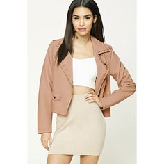 Forever21 Studded Moto Jacket ($38) via Polyvore featuring outerwear, jackets, peach, button jacket, flap jacket, forever 21 jackets, biker jacket and pocket jacket