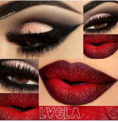 The sexy valentines look. Red lips, smokey eye and full lashes.