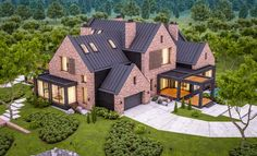 rendering of modern cozy clinker house on the ponds with garage and pool for sale or rent with beautiful landscaping on background. Clear summer evening with cozy light from window. Sims 4 House Plans, Sims 4 House Building, Sims 4 House Design, Dream Home Design, The Sims, Building Concept, Sims 4 Build, Summer Evening, 3d Rendering
