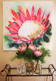 The best flowers to keep in your home this winter. Roses and tulips are great flowers to keep at home during winter. Protea Art, Protea Flower, Exotic Flowers, Amazing Flowers, Winter Flowers, Fabric Painting, Pink Painting, Botanical Illustration, Botanical Art