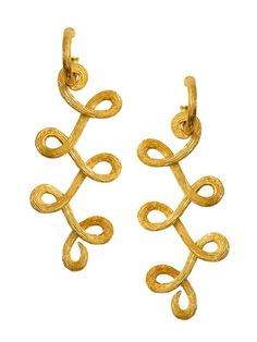 """H.Stern Yellow Gold Textured """"Loops"""" Drop Earrings at London Jewelers!"""