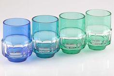 4 Vintage Kristall Becher Gläser blau petrol grün Trinkgläser Wassergläser H2D
