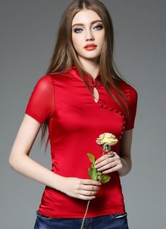 Shop oriental women's short sleeve red silk blouse. Find latest oriental fashion products from idreammart.com.