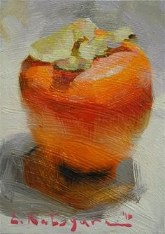 "Daily Paintworks - ""Persimmon In The Light"" - Original Fine Art for Sale - © Elena Katsyura"