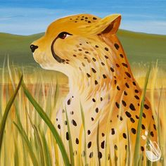 """Cheetah's Gaze""  16 x 20  Acrylic on canvas  If you would like to join us to paint this art, click the pin to find a location near you. There, you will find the calendar for that studio. If the art is not available, feel free to send the studio an emailed request."