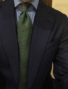 "@ari_1981 is wearing our tie mod ""Geometric Pattern Green-Blue"". Sprezza. #sprezza #handmade #sprezzaties #handmade #madeinitaly #italy #fattoamano #napoli #sartoria #rincondecaballeros #styleforum #spain #spanishbrand"