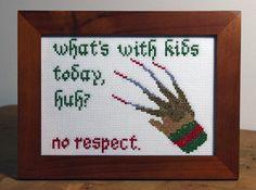 Freddy Krueger Quote - Framed Cross Stitch
