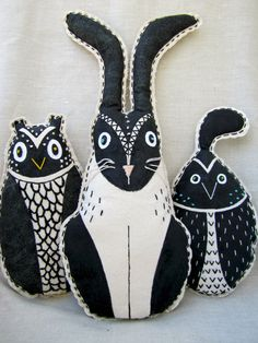 Desert Owl Mixed Media Soft Scupture Pillow by ArborLeeStudio
