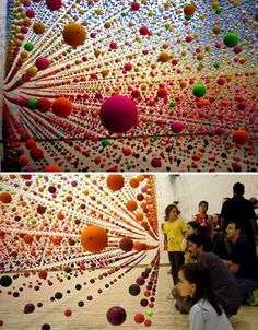 Thousands of balls seemed to hover in midair for the eye-popping installation 'Atomic: Full of Love, Full of Wonder' by artist Nike Savvas at the Australian Centre for Contemporary Art in Melbourne. Not only did the installation create a disorienting field of color, but air movement from a fan caused the balls to gently bounce and sway.