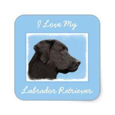 #Labrador Retriever (Black) Square Sticker - #labrador #retriever #puppy #labradors #dog #dogs #pet #pets