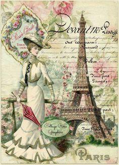 Paris within the Summer season digital picture obtain by CottageRoseGraphics Papel Vintage, Decoupage Vintage, Decoupage Paper, Vintage Diy, Vintage Labels, Vintage Ephemera, Vintage Postcards, Printable Vintage, Images Vintage
