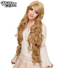 Rockstar Wigs Blonde Cosplay Wig, Cosplay Wigs, Long Curly Hair, Curly Hair Styles, Kawaii Wigs, Lady Godiva, Anime Wigs, Dark Blonde, Milk Tea