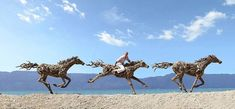 British-born James Doran-Webb created these incredible life-size horses out of salvaged driftwood as a part of an ongoing series of animal sculptures. Fasc