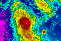 Satellite image of Cyclone Marcia approaching Queensland coast