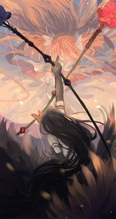 Demon Homura vs Goddess Madoka- tumblr