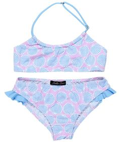Bikini with shells in light blue on pink - Stella Cove