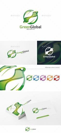 Green Global / Leaf  - Logo Design Template Vector #logotype Download it here: http://graphicriver.net/item/green-global-leaf-logo-template/10540499?s_rank=1214?ref=nexion
