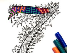 """Number 7 Zentangle - Inspired by the font """"Harrington"""""""