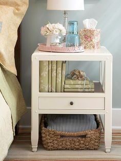 Bed side table with everything I need.. book shelf, drawer, basket storage space for pretty things :)