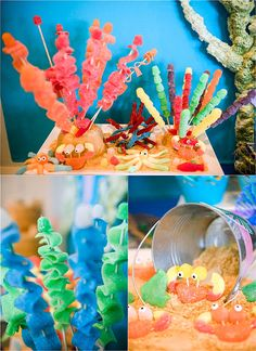 A Sparkly Under The Sea Birthday Party - inspired by Finding Dory and Nemo, this party is full of amazing DIY and creative details, food and party favors ideas! Boy Birthday Parties, Decoration Table, Finding Dory, Party Favors, Names Baby, Girl Names, Carters Baby, Baby Boys, Crib Bedding