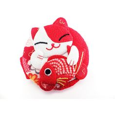 Double Pocket Mirror Cat Kitty Big Red Koi Fish Kawaii Japanese Kimono... ($15) ❤ liked on Polyvore featuring beauty products, beauty accessories and bags & cases