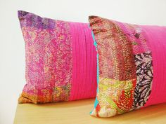 Set of Two Vintage Kantha Silk Cushion Covers