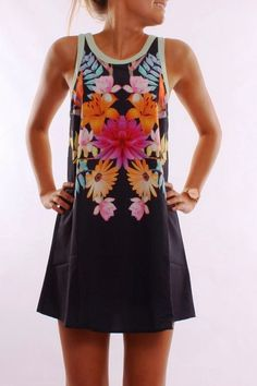 MODE THE WORLD: Adorable Jean Jail Flower Printer Dress