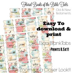 Flower - Printable Bible Tabs - Bible Tabs - Bible Journaling tabs - Bible Journaling - Tabs for Bible Beautiful Words, Printable Tabs, Printables, Religion, Old And New Testament, Life Quotes Love, Photoshop, Bible Art, Scripture Study