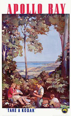 Apollo Bay, Victoria, Australia by James Northfield vintage_poster Vintage Advertising Posters, Vintage Travel Posters, Vintage Advertisements, Vintage Ads, Vintage Airline, Poster Vintage, Posters Australia, Australian Vintage, Apollo Bay