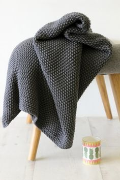 Beautifully Cosy Moss Stitch Cotton Throw - Slate Grey