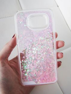 Samsung Galaxy S6 case - clear glitter liquid with hipster pink and green aurora borealis heart and glitter iridescent geometric sequins floating in a waterfall quicksand liquid trendy phone case. US seller.