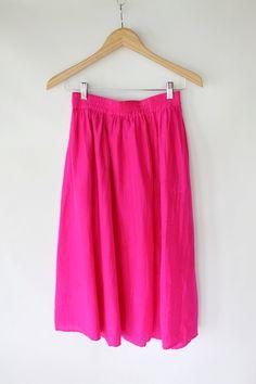 Vintage 80s Hot Pink Silk Long Skirt // VAUX
