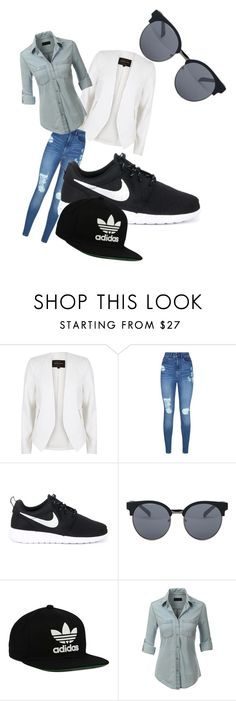 """Untitled #3"" by amber-lee1995 ❤ liked on Polyvore featuring River Island, Lipsy, NIKE, Quay, adidas Originals and LE3NO"